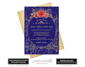 Beauty and the Beast Wedding Invitation - Vintage Navy Blue and Gold with Red Roses -  Fairytale Princess Belle Invites
