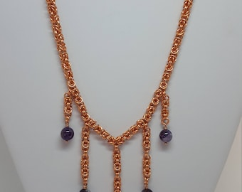 Copper Byzantine Chain Maille Necklace with Dog Tooth Amethyst Round Drops