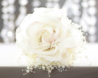Bridal Bouquet - Blush Rose Bridal Bouquet w/Pearls - Glamelia Compostite Wedding Bouquet - Fabulous Brooch Bouquet Alternative