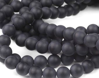 Black Beads, Natural Stone Matt Onyx Beads, 20 pcs Round Polished Matte 6mm Beads for Jewellery and gift Making