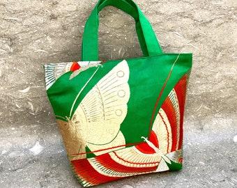 Green Gold Butterfly Silk Kimono Obi Bag Upcycled From Vintage Japanese Obi. Handmade,Japanese Bag,Holiday gift, Silk Handbag,gift for her