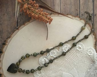Heart Locket Necklace with Olive-Green beads and Antique-brass color beads/necklaces for women/locket necklaces