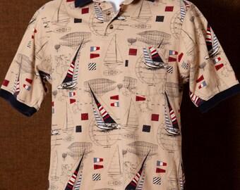 Vintage 90s Sailing Sailboat Yacht Men's Polo Shirt - ROUNDTREE & YORKE - S