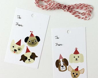 Cute Dog Lover's Gift Tag Set  - Dog Party Birthday Holiday Gift Tags - 2 Designs - Pack of 10 with Twine, stocking stuffers, party tags