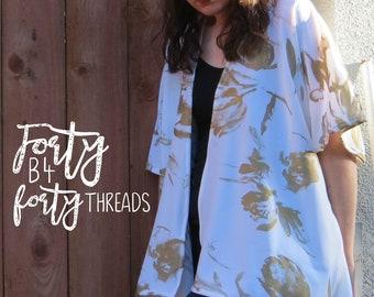 Bohemian Off White and Gold Kimono with Tulips Wrap Shawl Fashion Boho Chic