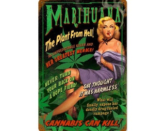 """Reefer Madness, The Plant From Hell, Marijuana, Cannabis, Metal Sign, 12"""" X 18"""" or 24"""" X 36"""""""