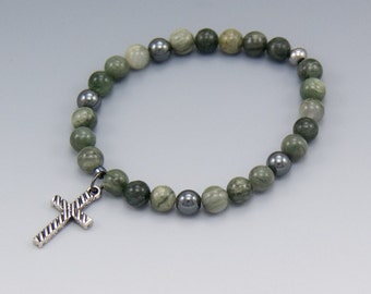 Stretch Bracelet - Cross Charm - Green Jasper - Christian Jewelry - Gift Box Included - Item # 309