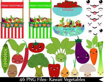 Kawaii Vegetables- Digital Clip Art Graphics (087)
