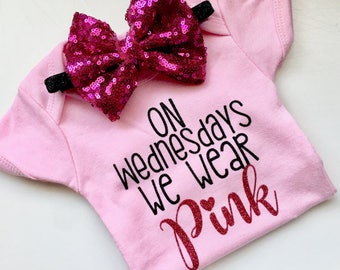 On Wednesdays we wear pink, mean girls, that is so fetch, pink bodysuit, new baby, newborn, baby shower, first birthday, you go glen coco