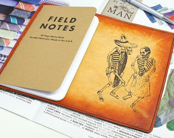 Field Notes Leather Cover - Dancing Skeletons - Customizable - Free Personalization