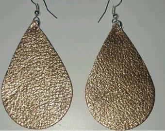 New!! ROSE GOLD Hand Cut Leather Earrings. Leather Tear Drop Earrings.
