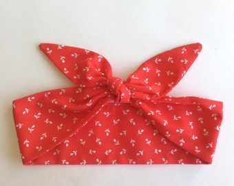 Dolly Headband, Tie-Up Hairband, Red with White Flowers - READY TO SHIP!
