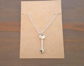 Silver Arrow Pendant Necklace, Arrow Necklace, Arrow Jewelry