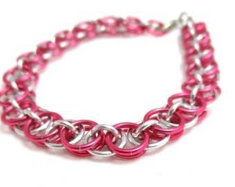 Dark Rose Helm Chainmaille Bracelet - Pink Chain Maille Bracelet - Chain Bracelet