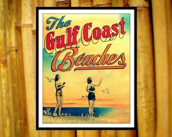 Beach House Decor, Travel Gift, Beach Home Decor, Travel Art, Gulf Coast Beaches, Wanderlust Art Beach House Art, Vintage Florida Art, Aqua