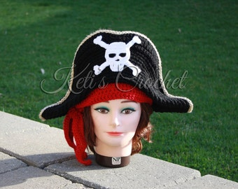 Adult Pirate Hat,Crochet Pirate Hat,Crochet Pirate Hat Costume,Crochet Costume, Kids Pirate hat, Adult Pirate Hat, Adult Crochet Pirate Hat