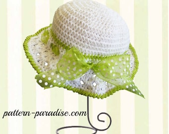 Crochet Pattern, Sunhat for Girls and Babies, PDF 12-012 INSTANT DOWNLOAD