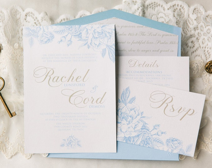 SAMPLE Airy Floral Wedding Invitation in White & Light Blue with Gold Accents, Bible Verse Envelope Liner, Details Insert and RSVP