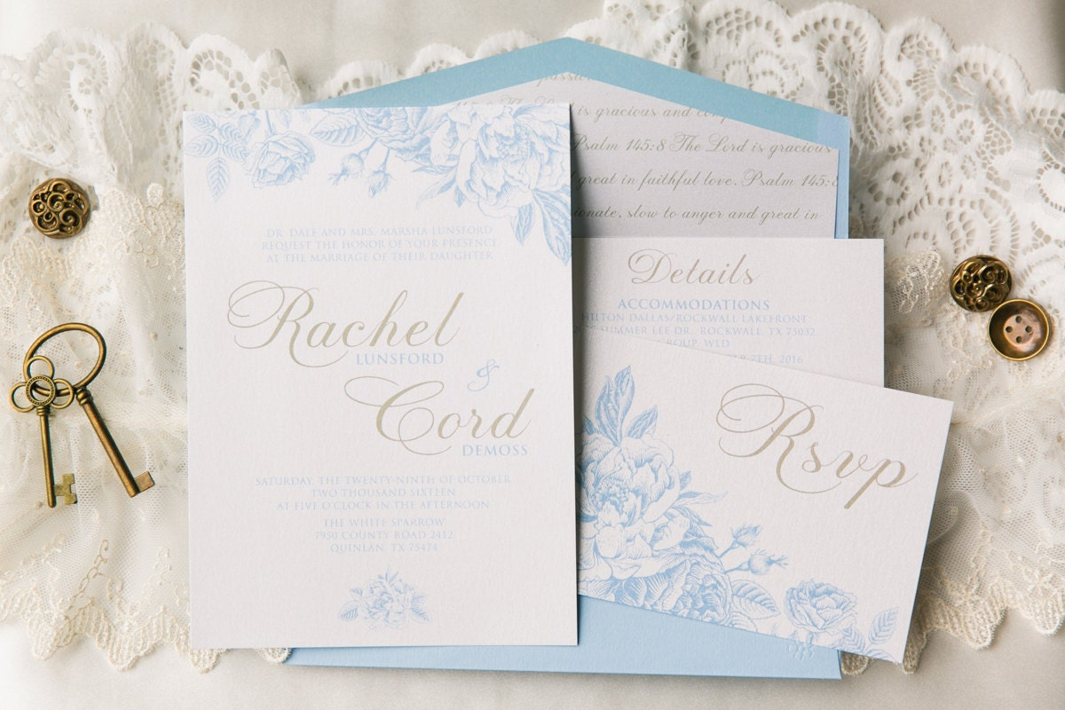 SAMPLE Airy Floral Wedding Invitation in White & Light Blue with ...