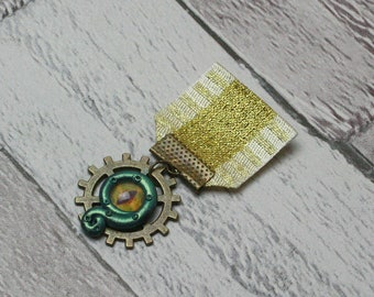 Green Cthulhu Medal, Tentacle Medal, Steampunk Medal, Steampunk Brooch, Cthulhu Brooch, Tentacle Brooch, Cosplay Jewellery