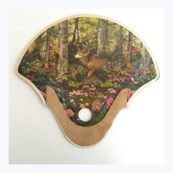 Vintage Woodland Sanctuary Deer in Landscape Genuine Stickless Fan
