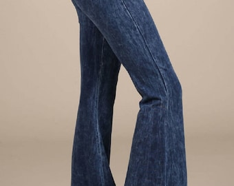 Hippie Bell Bottom Flare Denim Stretch Jeans Elastic Waist - Plain Navy Blue