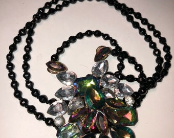 Multi Colored Pendant with Black Jet Bead Necklace