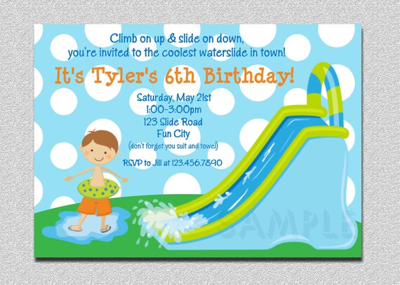 Waterslide birthday invitations water slide birthday party like this item filmwisefo Image collections