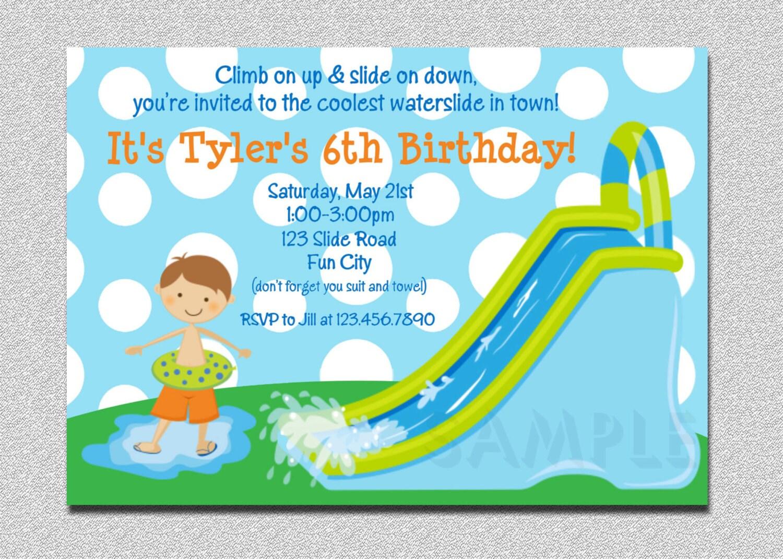 Waterslide birthday invitations water slide birthday party zoom stopboris Image collections