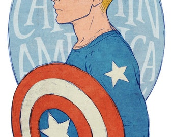 Steve Rogers Captain America art print 11x17 inches
