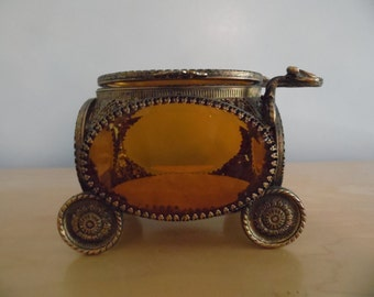 Gorgeous amber glass filigree carriage jewelry casket box