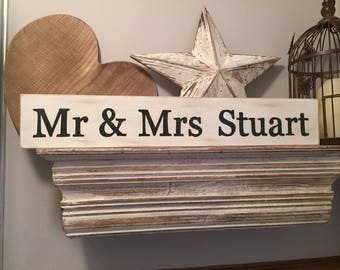 Handmade Wooden Sign - Personalised - MR & MRS, plus surname - any name!  Wedding gift, newlyweds, Large, 60cm