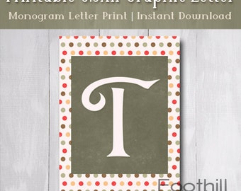"INSTANT DOWNLOAD, Monogram Letter ""T"" Print With Multi Colored Circle Pattern, 8.5 x 11 Printable Graphic, Frame Wall Art, Nursery Decor"