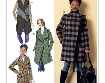 Butterick Pattern B6384 Misses' Shawl Collar Coat and Vest with Belt