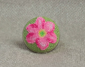 Pink flower ring, Cross stitch jewelry, Embroidered ring, Flower jewelry, Floral ring, Pink jewelry, Hand embroidered gift, Women gift