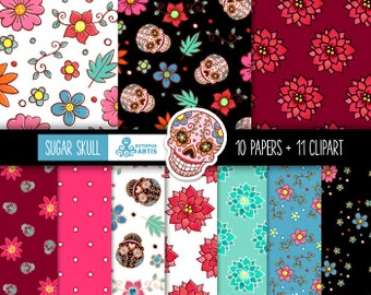 Sugar Skull: 10 Digital Paper & 11 Elements. Mexican tribal skulls, scrapbooking, floral, Day of the Dead, flowers