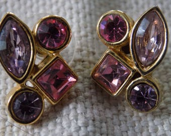Vintage earrings, lovely lavender and pink crystals stud earrings, dressy earrings,retro style earrings