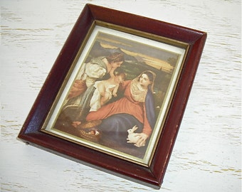 religious picture - deep rich colors - victorian baroque style - shabby chic cottage - christmas or easter decor