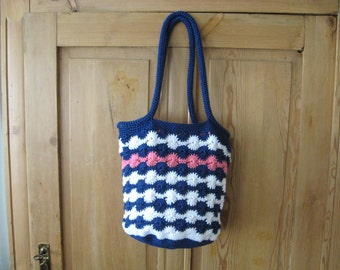 Hand Crocheted Navy, White and Coral Summer Bag