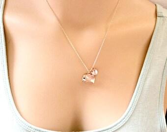Rose gold Elephant Necklace, Rose gold elephant pendant, persoanlized necklace,elephant jewelry, elephant gift, RELEIN01, bridesmaid gift