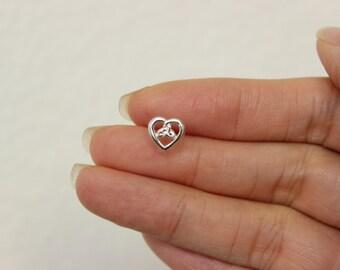 Sterling silver Celtic Heart cartilage earring, tiny cartilage stud, Celtic earring, single stud, cartilage stud. Heart cartilage earring