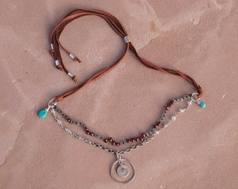 Sunny Santa Fe Leather Stone Silver and Gold Necklace