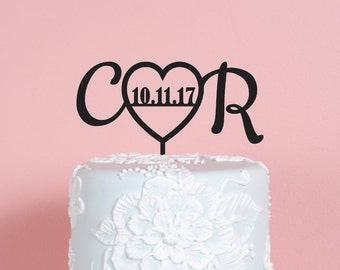 Heart with Initials and Date Wedding Cake Topper