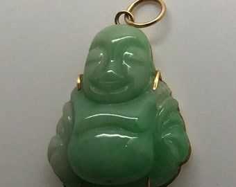 14 K 585 Gold Jade Smiling Happy Buddha Pendant Carved Happy Face   Religious Birthday Mother's Day Gift For Her Mom Fathers Day Gift