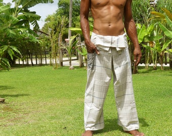 Cotton pelikat / boho / travellers / fisherman pants in white with blue thin stripes