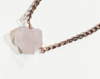 Raw Rose Quartz crystal and Copper Necklace