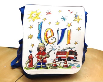 Kids backpack blue, fire brigade