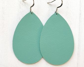 Aqua Leather Teardrop Earrings