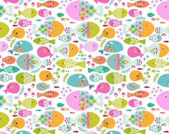 NEW>> COTTON FABRIC Swimming With The Fishes (white) - 'Go Fish' by Blend Fabrics 100% premium cotton