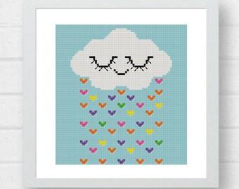 Cloud cross stitch pattern easy cross stitch baby cross stitch rain cross stitch clouds cross stitch Modern Cross Stitch#05-003